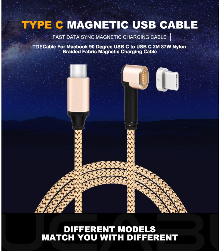 2M Nylon Woven Max 4.35A 20V For Macbook Pro and USB-<strong>C</strong> Phones Fast Charging Type <strong>C</strong> to Type <strong>C</strong> Magnetic Cable