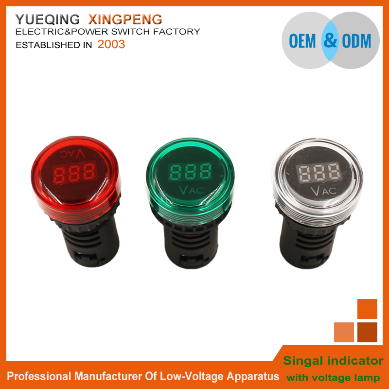 The best price AD16 mini white colour lamp digital led indicator light with voltage meter 70V-450V