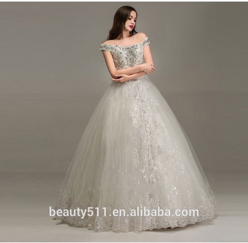Luxurious Classic A-line Beading Off-shoulder Sleeveless Floor-length Empire Organza Princess wedding dresses WD1642