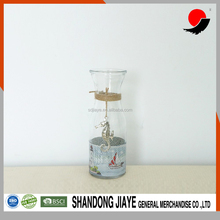 Transparent Glass Vase with Sea Horse Hanging for Home Decoration