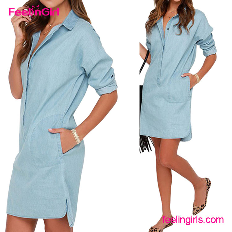 Cheap Long Sleeves Solid Denim One Piece Dress