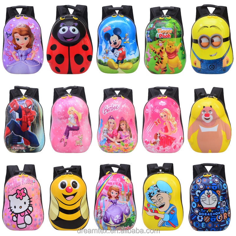 Wholesale ABS+PC Kids trolley bag backpack cute cartoon school bag