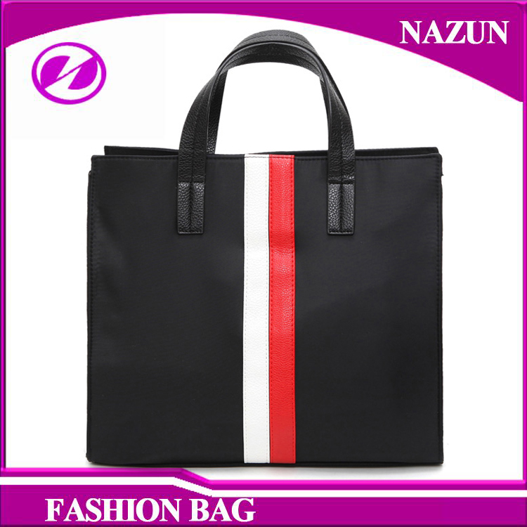 2016 Promotion simple latest black mix white color vertical stripes lady PU leather tote bags