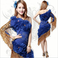 2016 Wholesale Sexy Latin Ballroom Dress Blue/Red Fringe Dance Costumes for Women on Sale