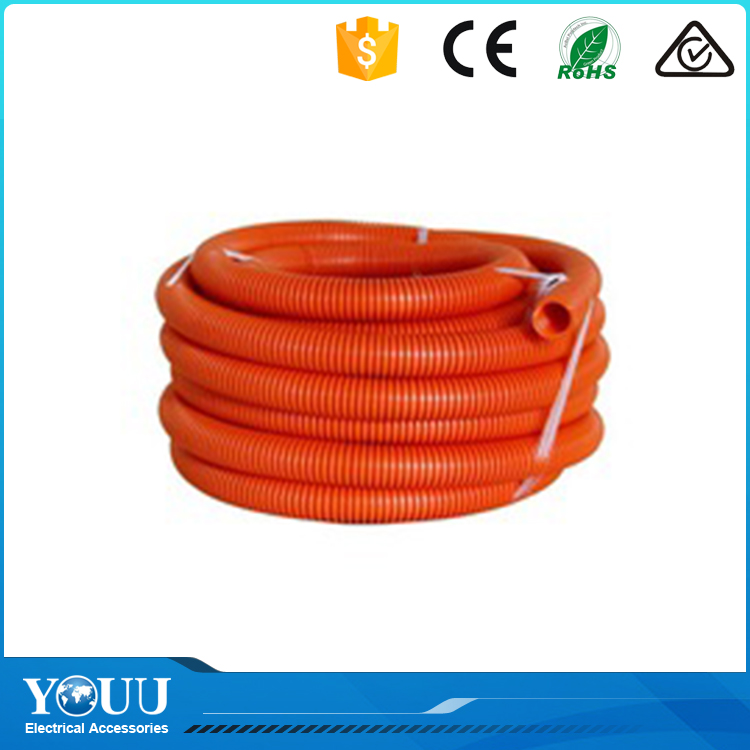 YOUU Waterproof Electrical Flexible Corrugated Pvc Conduit Heavy Duty Orange Plastic Pipe