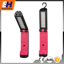 Magnetic Foldable Work Light 10 SMD+1W LED Plastic Portable Flashlight, powered by 3xAAA battery