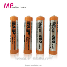 China Supplier Newest Brand Ni-MH AAA 1.2V 800mAh English Export Packing Rechargeable Battery Back