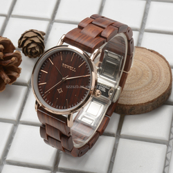 New arrival vogue elegent luxury stainless steel and wood watch for lady