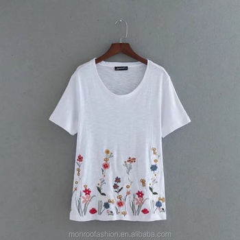 monroo New Fashion Elegant short sleeve black and white color t-shirt Women Slim Loose Embroidery T-shirt Pullover Clothing