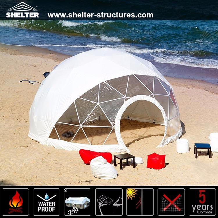 UV retardant geodesic dome tent for beach event