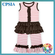 baby fashion cotton stripe ruffle pants set cute flutter top clothes for baby girl