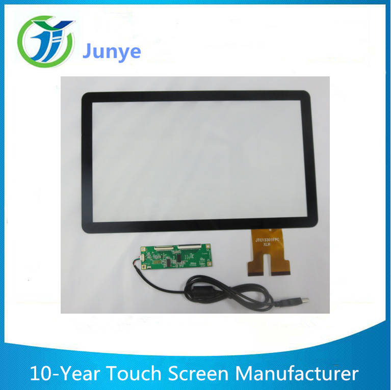 13.3inch industrial touch screen panel pc linux PET film USB smart home touch control panel