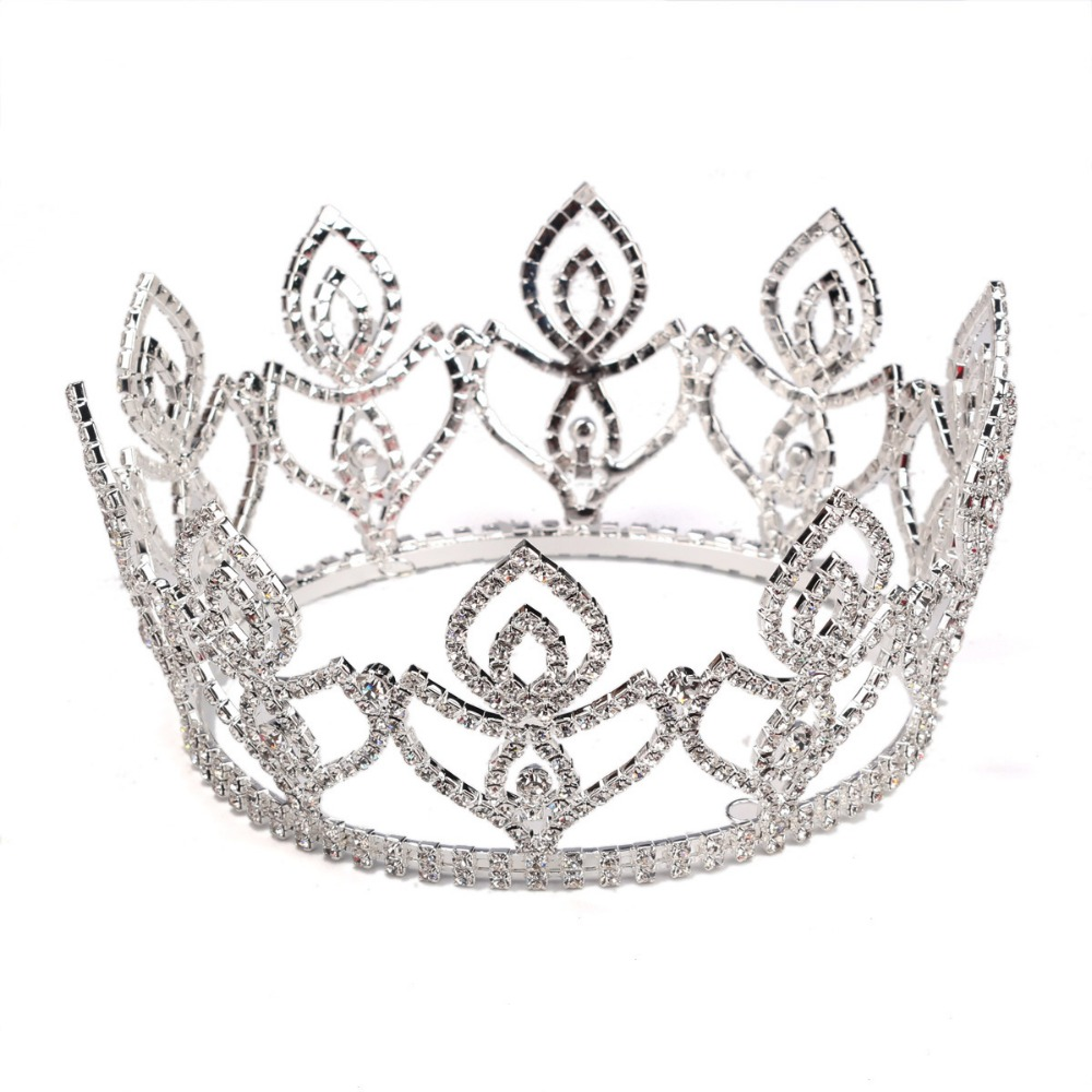 Wholesale European and American crystal diamond full round boutique bride headdress big crown