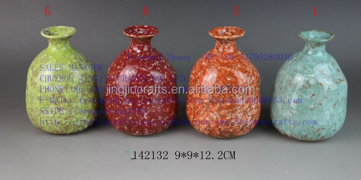 rainbow colored Chinese porcelain flower vase