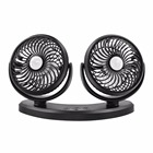 2018 Dual Head USB Powered Min Car Desk Fan for Home Office, 360 Rotatable Auto Fan 3 Speed Adjustable