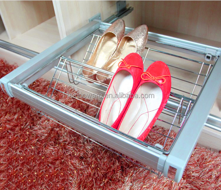 Aluminum Soft Closing Dustproof Shoe Racks Pull Out Sliding Shoe Racks