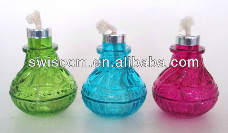 Glass oil lamp with spraying color