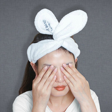 High Quality Soft Velvet Plush Wash Face Make Up Custom Logo Rabbit Bunny Ear Headband