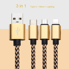 Customized 3 in 1 Usb Micro Cable For Iphone