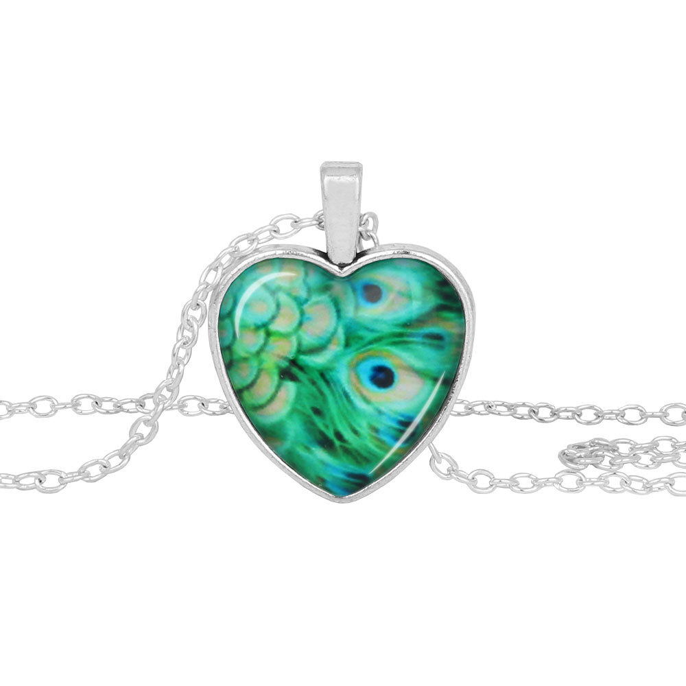 Peacock Necklace Vintage Women Green peacock pendant heart shaped time gem glass necklace