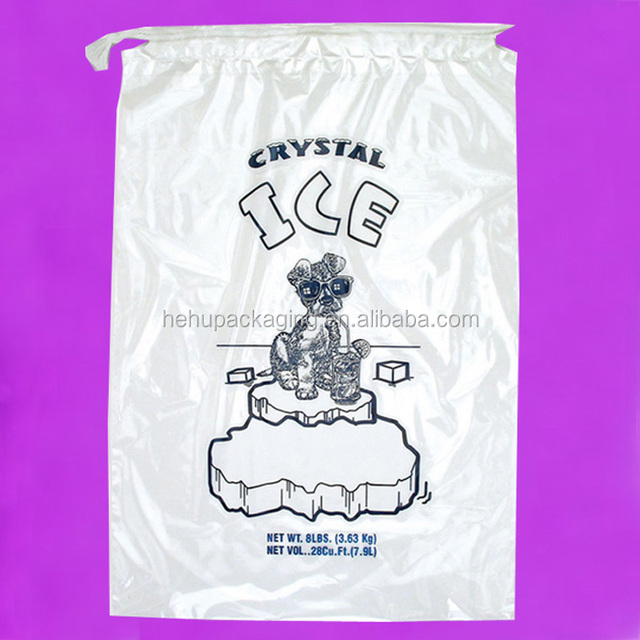 disposable drawstring top crystal clear ice plastic bag
