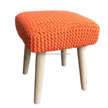 Wholesales Home Furniture Wooden Crochet Square Foot Stool Handmade Knitted Pouf Ottoman