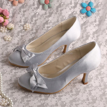 Sweet Style Silver Satin High Heel Wedding Shoes