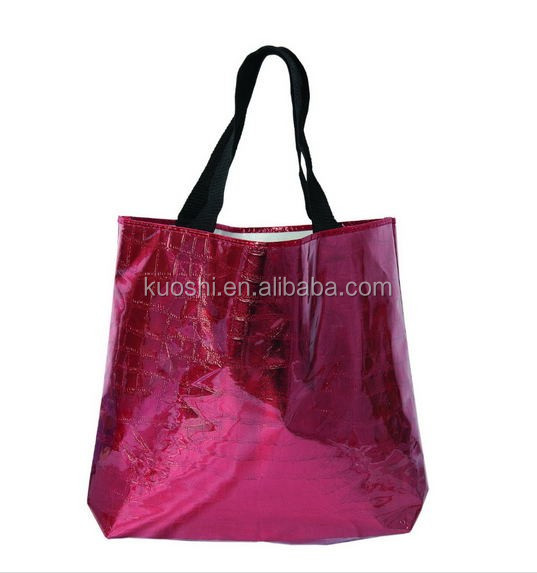 glossy metalic laminated non woven tote bag for shopping
