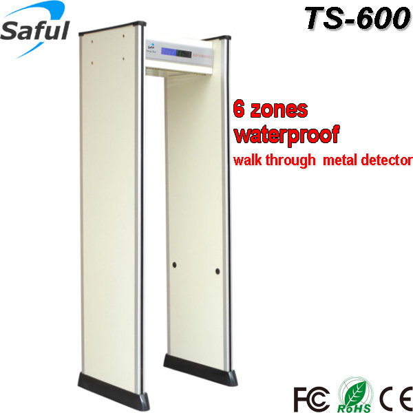 IP65 waterproof metal detectors walk through security gate TS-600 with backup battery supporting more than 8hours working