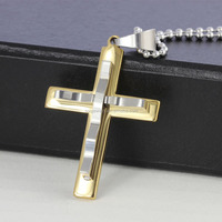 Men's Cool Two Tone Stainless Steel Concave Unique Cross Pendant for Necklace Accessory