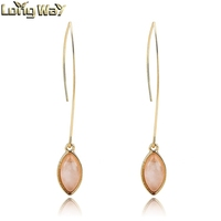 Fashion long pendant earrrings pink natural stone metal earrings simple gold earring designs for women