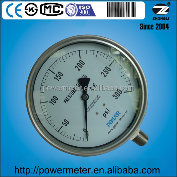160mm pressure gauge en837-1 all stainless steel wika type bourdon tube 300 psi
