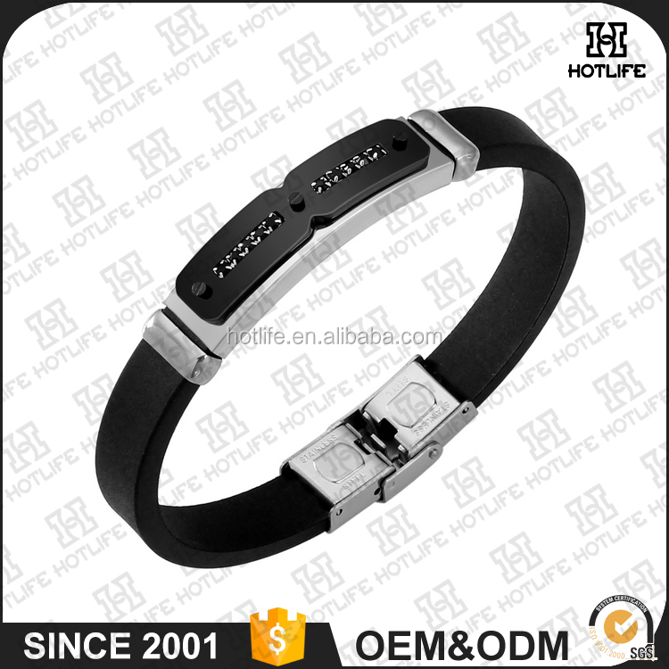 European And American Fashion Jewelry Bracelet 316L Stainless Steel Power Health Sport Silicon Bangle
