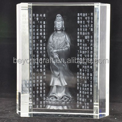 3d laser crystal figure of Buddha,engraved religious crystal souvenirs