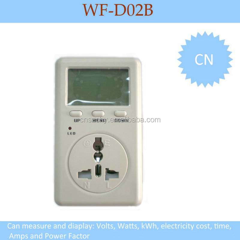 WF-DO2B household digital power meter for energy saving measuring Volt, Watt, Amps, kWh, $, current, power factor & time