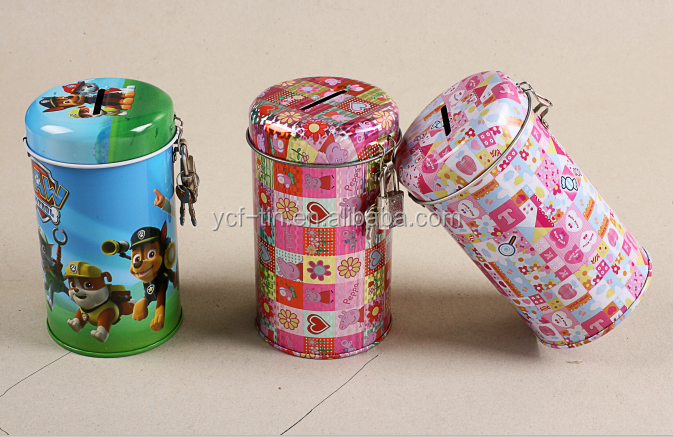 Wholesale round-shaped Tin coin bank With Blossom Price