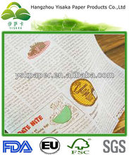 newspaper style printed food wrapping wax paper