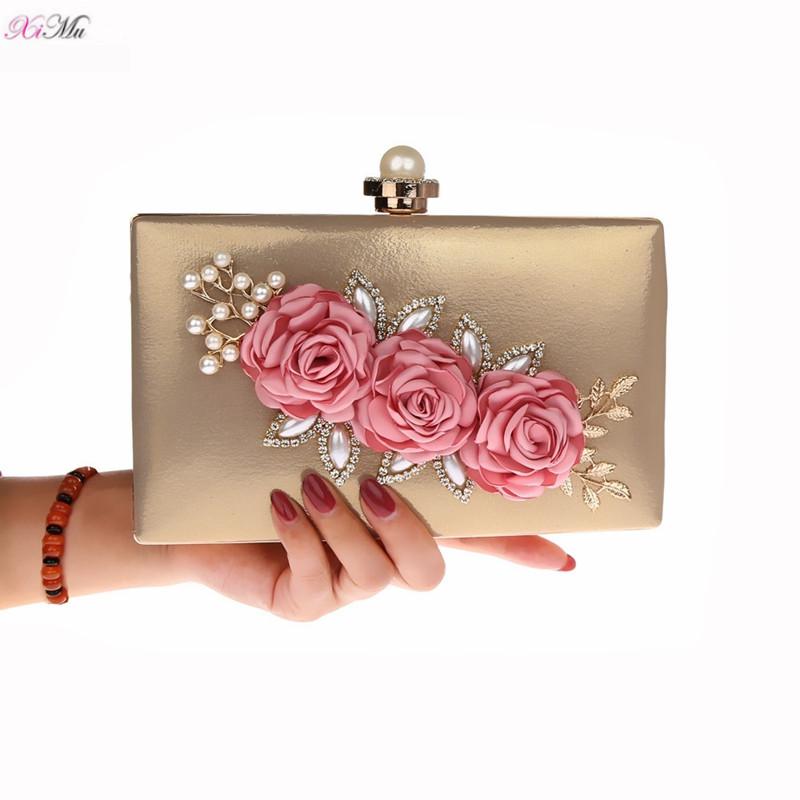 bad4f0d314 Gorgeous Satin 3D Flower Evening Clutch Bags Pearl Beaded Evening Handbag  For Prom Bride Wedding