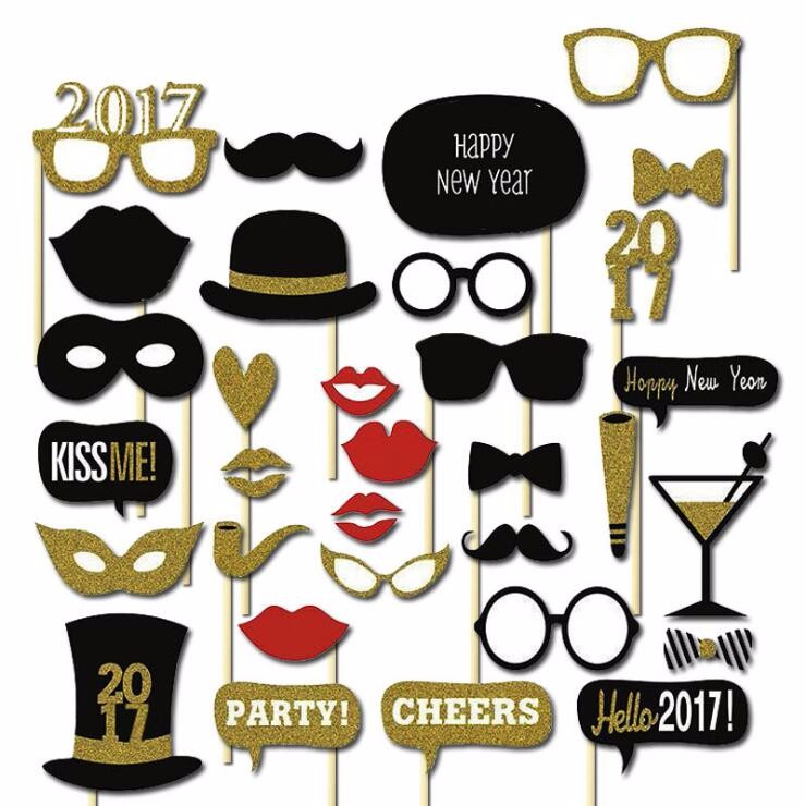 32Pcs DIY Kits Photobooth Fun Black Gold Sliver Party Decorations Costume Favor Gifts Happy New Year 2017 Photo Booth Props