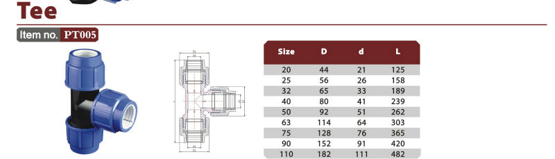ERA Alibaba best sell good quality PP Compression fittings tee