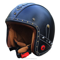 Handcraft harley vintage motorcycle helmet retro scooter half leather moto helmets