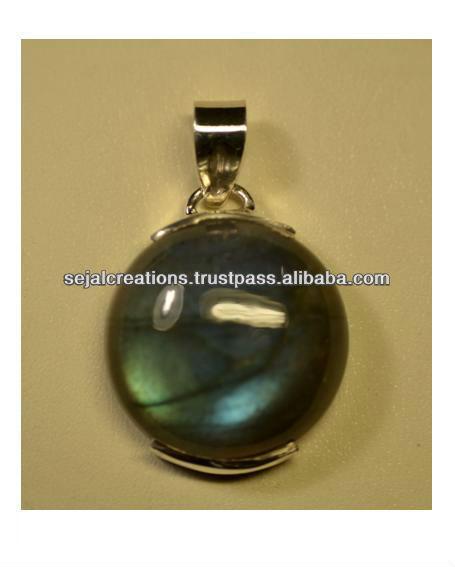 Round labrodorite Silver Pendant, Wholesale Silver Jewellery, Gemstones, Semi Precious Stones and Silver, K1264