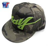 European flat dance hip hop hats camouflage 3D embroidered snapbavk cap with plastic bucket