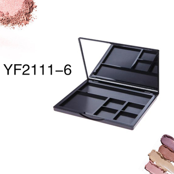 New black square eyeshadow compact container with mirror