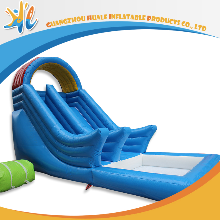 Blue Color Big Size Adult Inflatable Water Slides With Pool