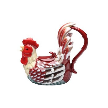 Hand painted ceramic rooster teapot