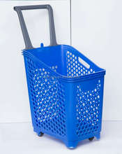 Colourfull hand carry plastic supermarket rolling baskets