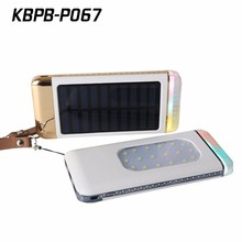 China factory smart phone keychain camping Solar charger 6000mAh with led light