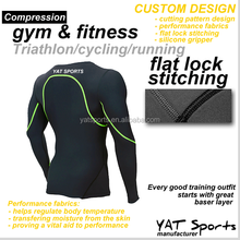 Yat sports factory gym fitness sportswear Custom design skin tight lycra long sleeve inner wear