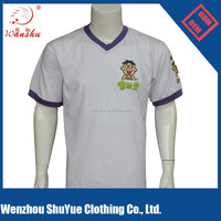 180gsm 100% cotton white v collar t shirt, custom logo v shape neck t-shirt wholesale